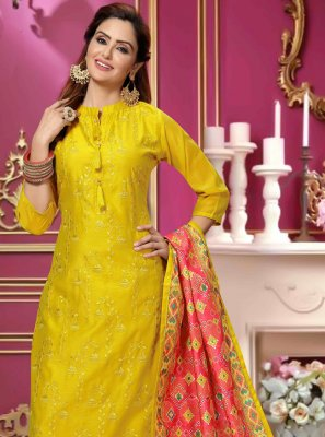 Yellow Embroidered Designer Salwar Kameez