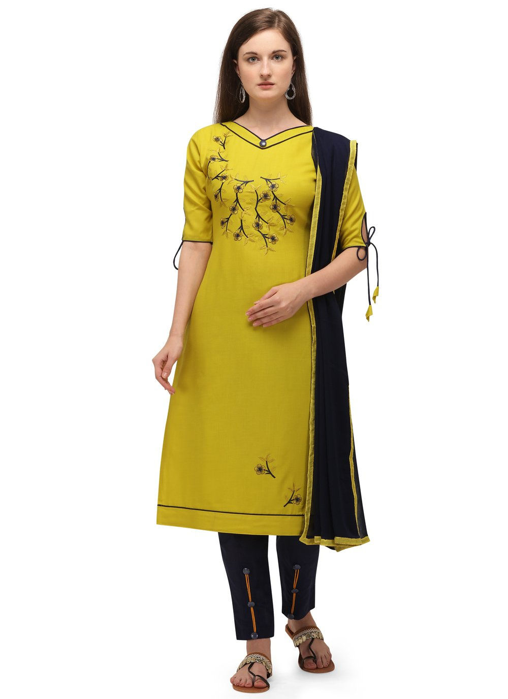 Yellow Embroidered Festival Pant Style Suit
