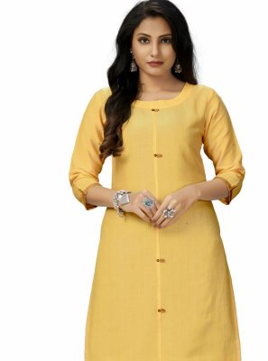 Yellow Embroidered Festival Party Wear Kurti