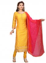Yellow Embroidered Festival Readymade Suit