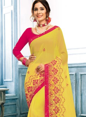 Yellow Embroidered Festival Traditional Saree