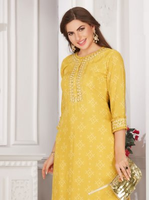 Yellow Embroidered Muslin Party Wear Kurti