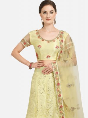 Yellow Embroidered Net A Line Lehenga Choli