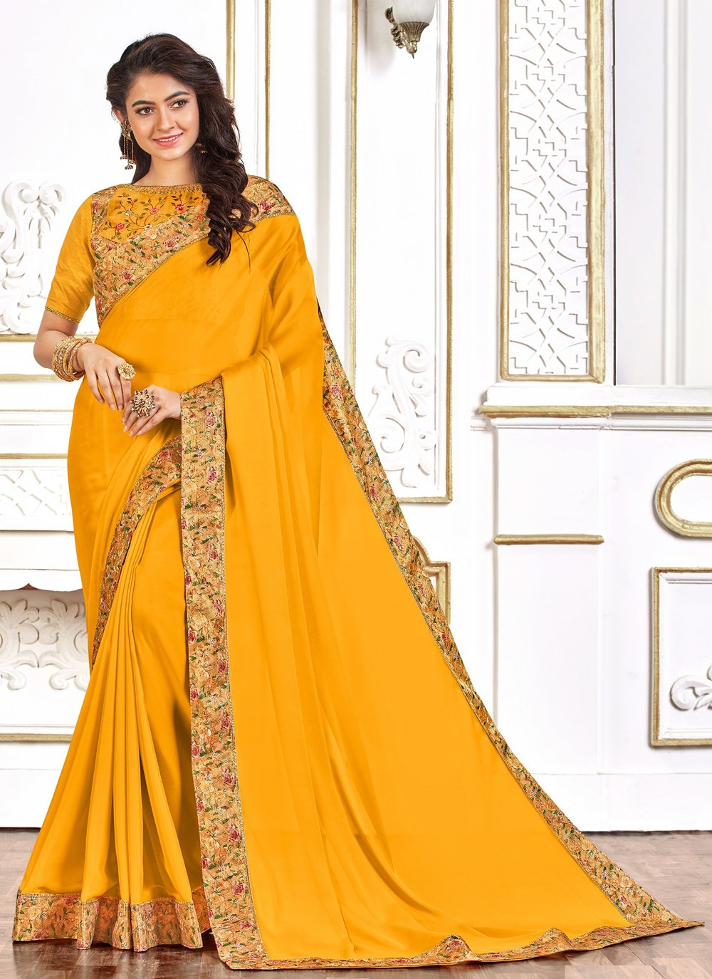 Yellow Embroidered Poly Silk Designer Traditional Saree