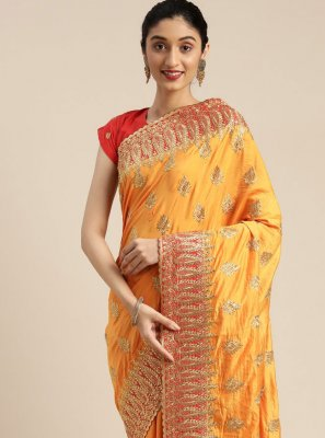 Yellow Embroidered Poly Silk Traditional Designer Saree