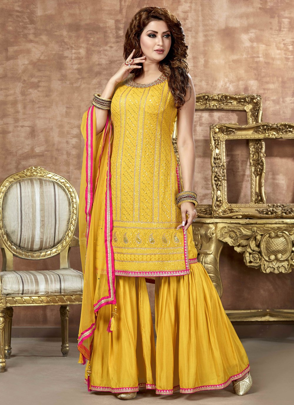 Yellow Embroidered Readymade Suit