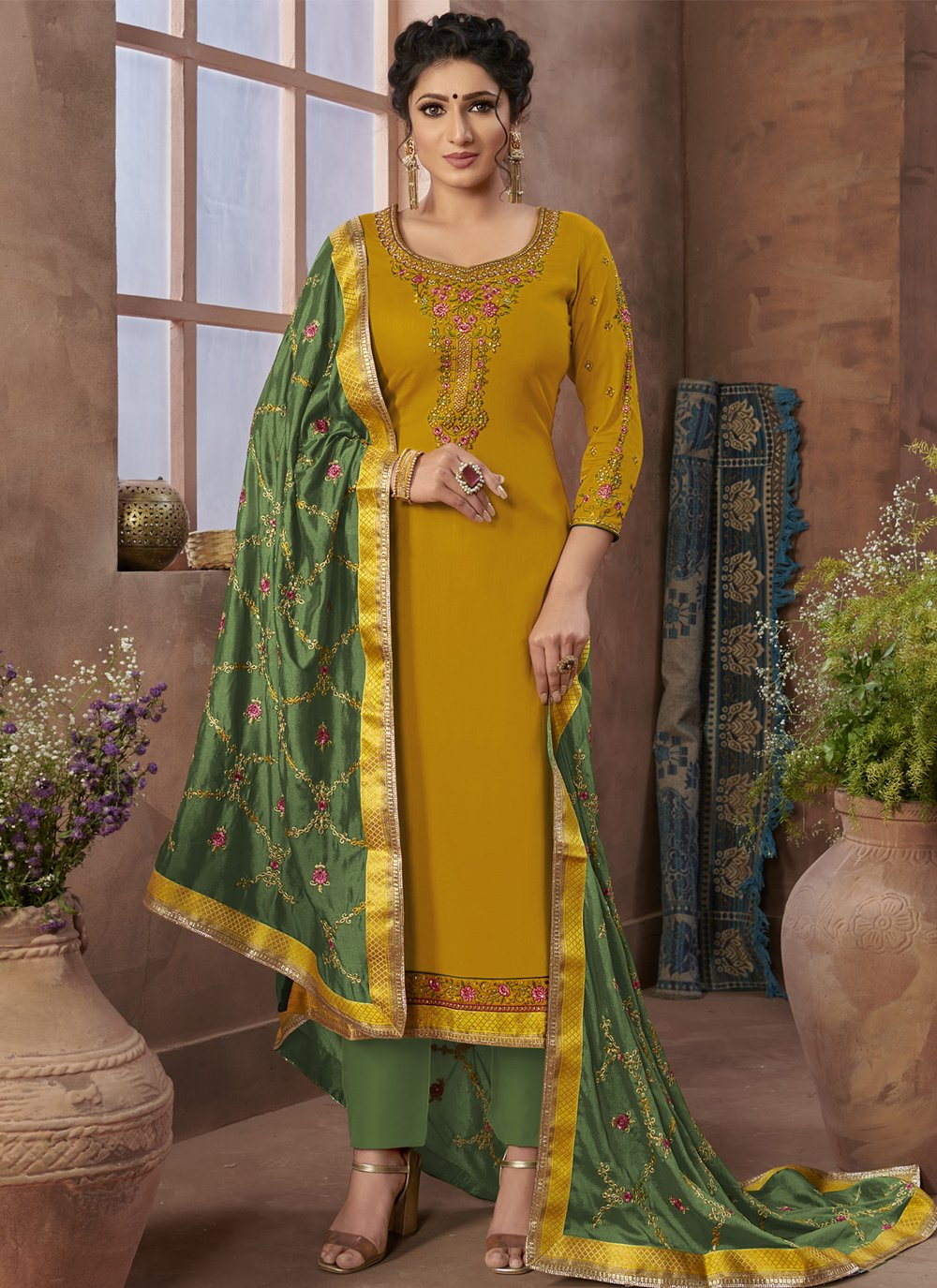 Yellow Embroidered Satin Pant Style Suit