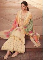 Yellow Embroidered Silk Designer Pakistani Suit