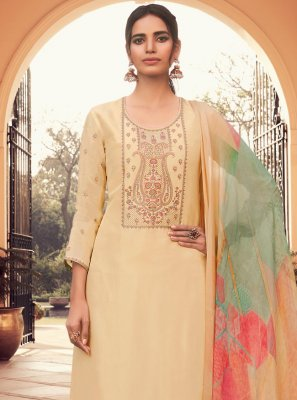Yellow Embroidered Silk Designer Pakistani Suit