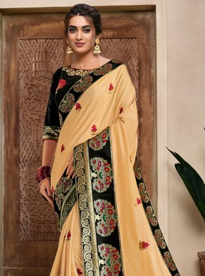 Yellow Embroidered Silk Designer Traditional Saree