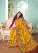 Yellow Embroidered Trendy Saree