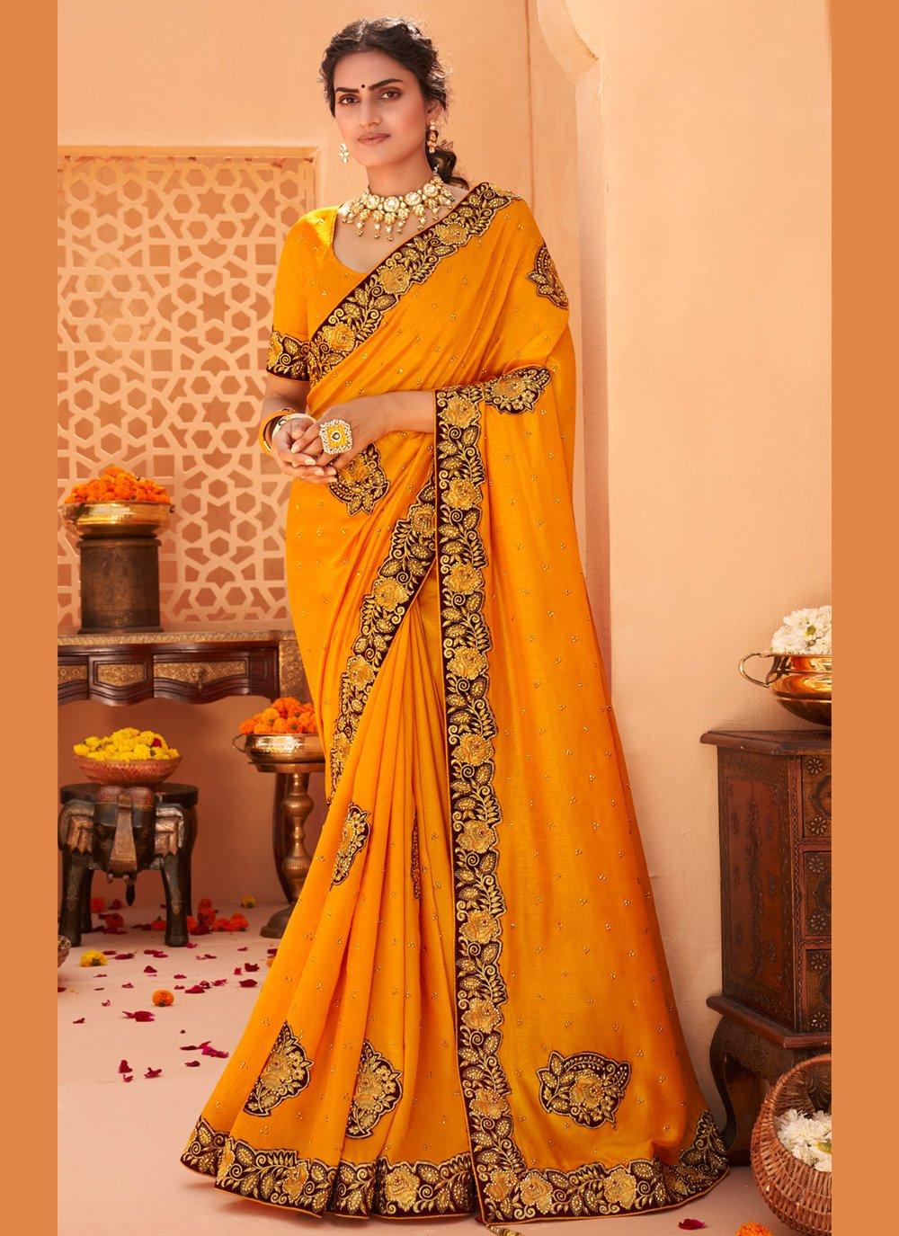 Yellow Embroidered Vichitra Silk Designer Saree