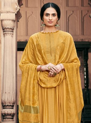 Yellow Embroidered Viscose Designer Palazzo Salwar Suit