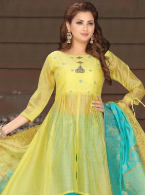 Yellow Engagement Chanderi Readymade Suit