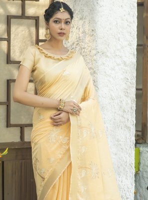 Yellow Engagement Cotton Trendy Saree