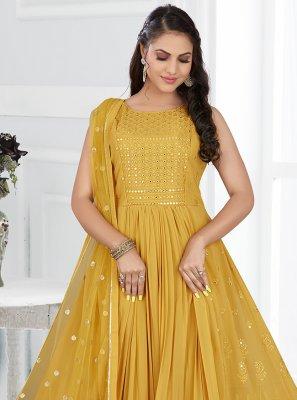 Yellow Engagement Floor Length Anarkali Salwar Suit
