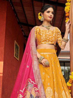 Yellow Engagement Lehenga Choli