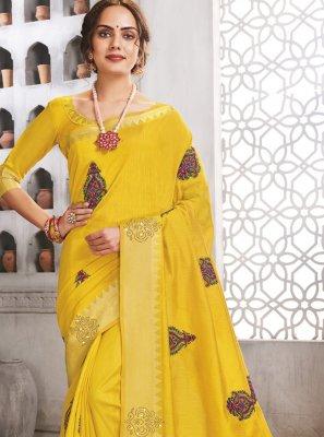 Yellow Engagement Raw Silk Traditional Saree