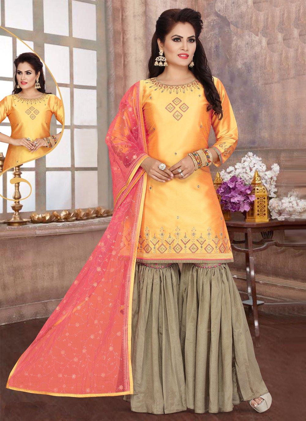 Yellow Fancy Art Silk Readymade Suit