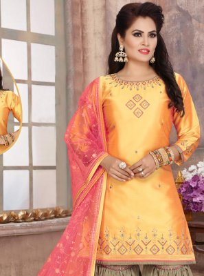 Yellow Fancy Art Silk Readymade Suit