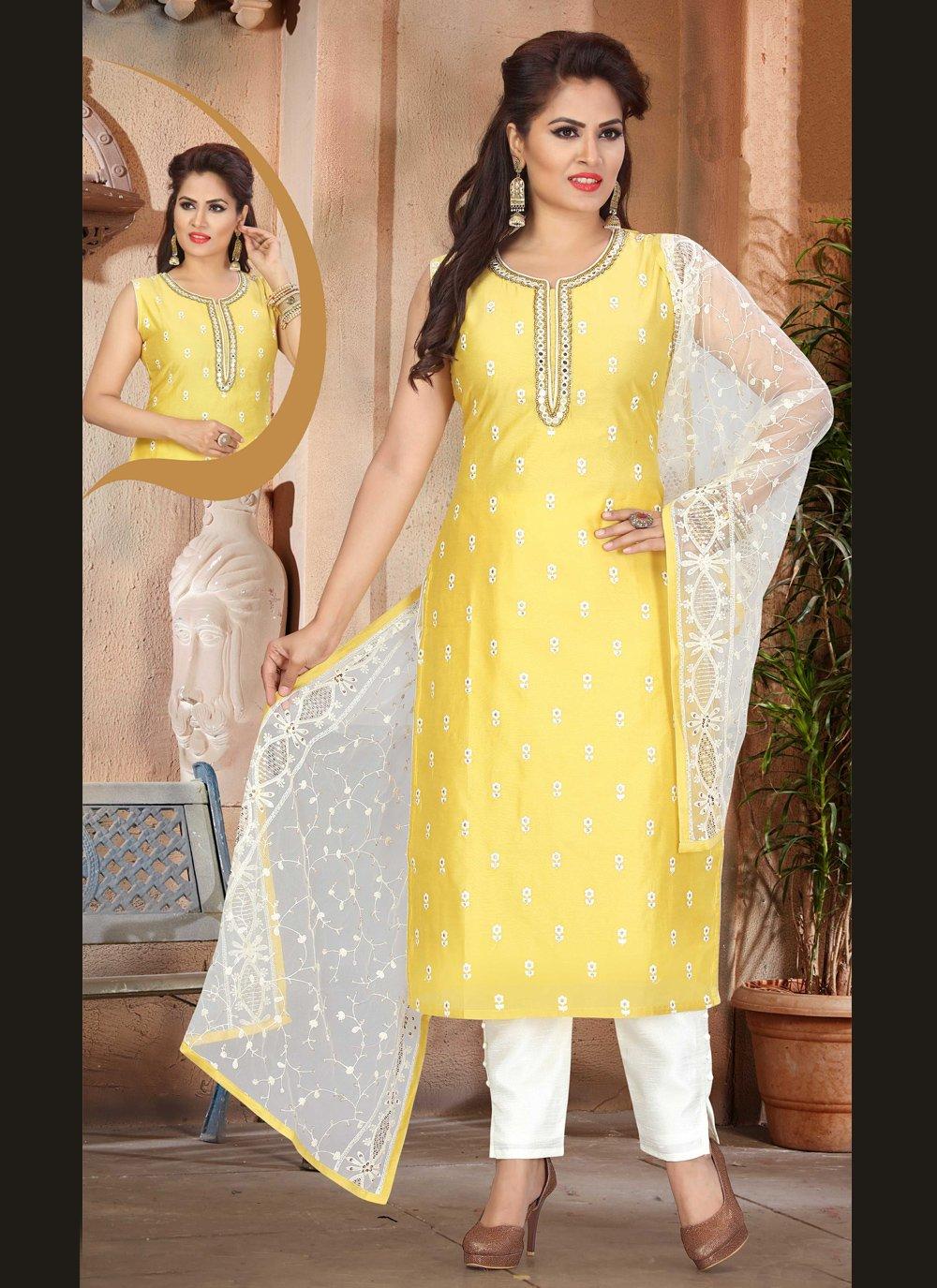 Yellow Fancy Chanderi Designer Suit