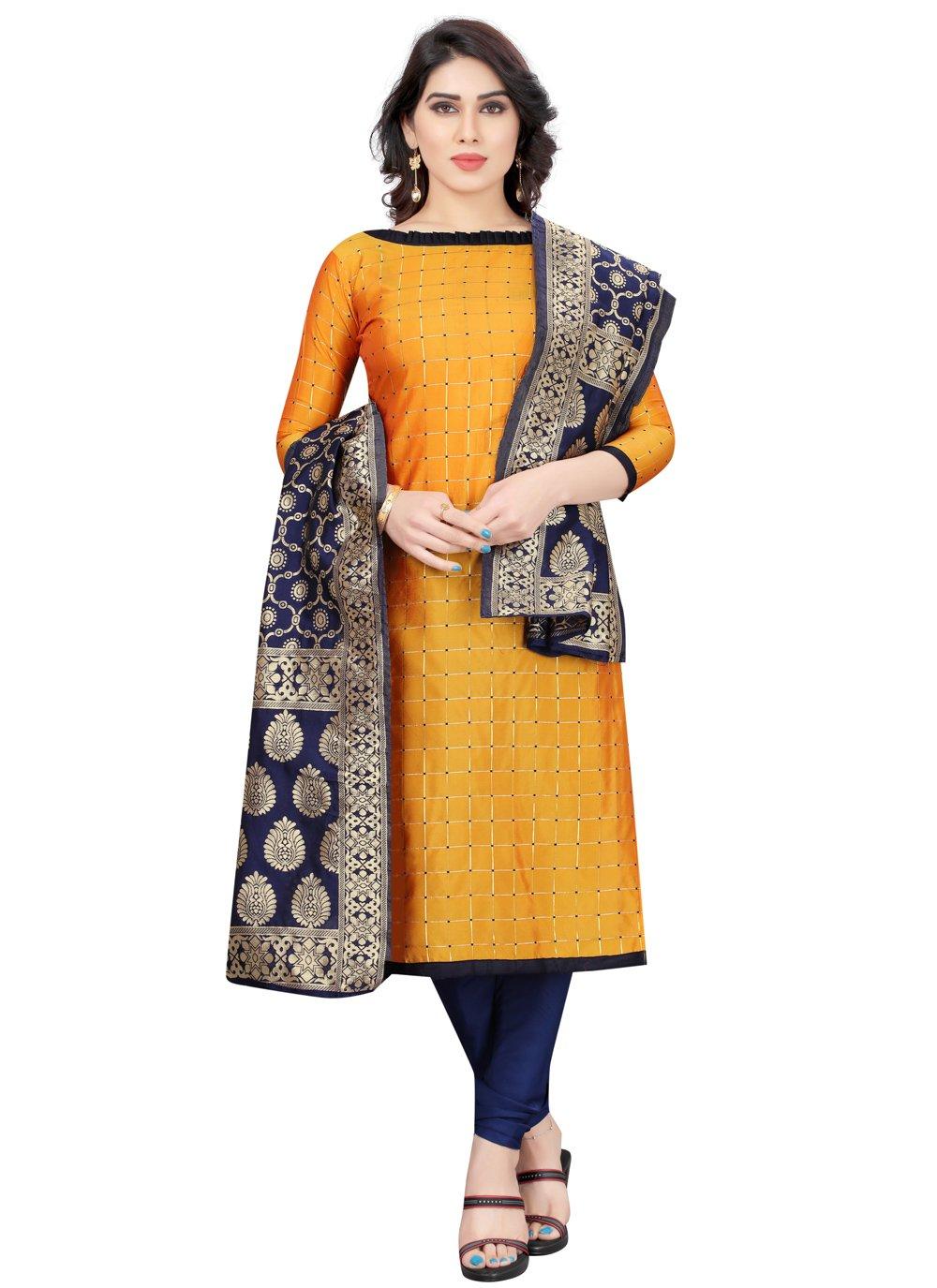 Yellow Fancy Churidar Designer Suit