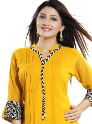 Yellow Fancy Fabric Casual Kurti
