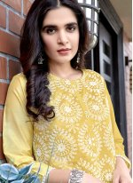 Yellow Fancy Fabric Readymade Suit