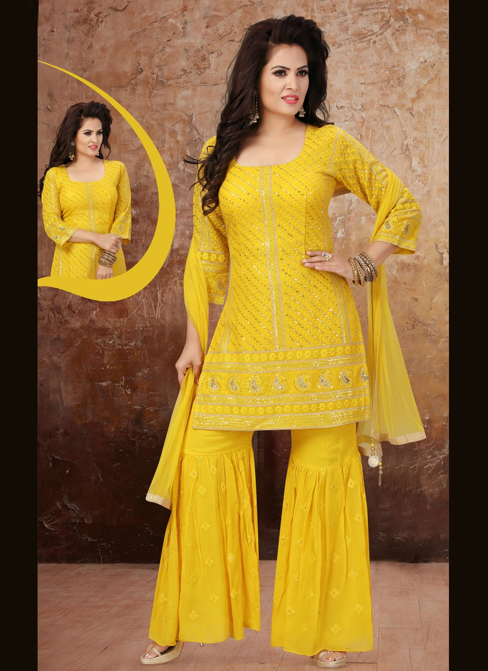 Yellow Fancy Georgette Readymade Suit