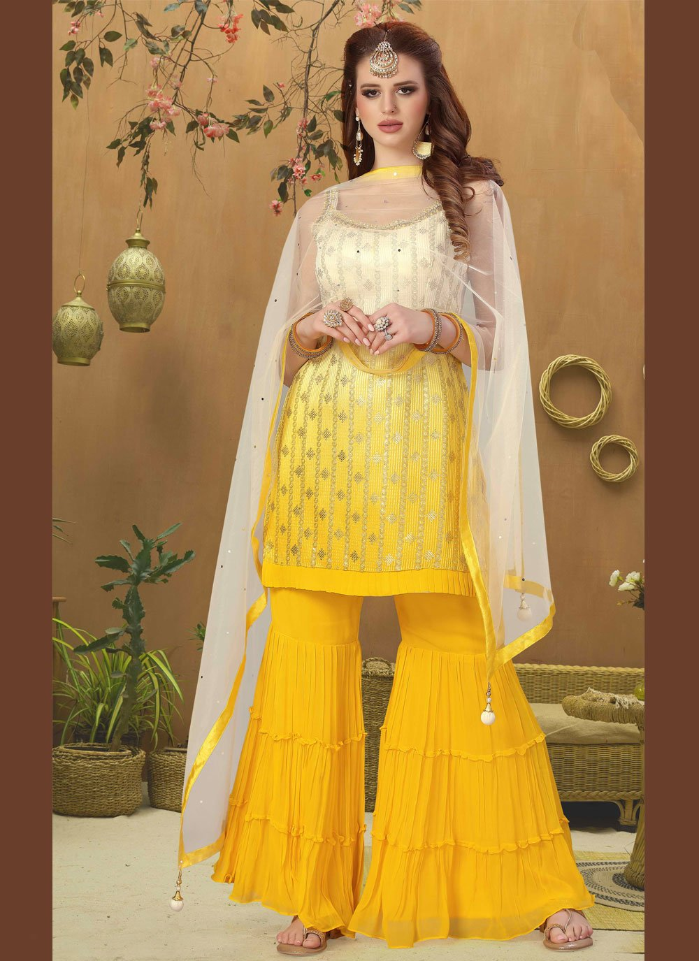 Yellow Fancy Georgette Readymade Suit