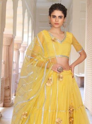 Yellow Fancy Sangeet Lehenga Choli