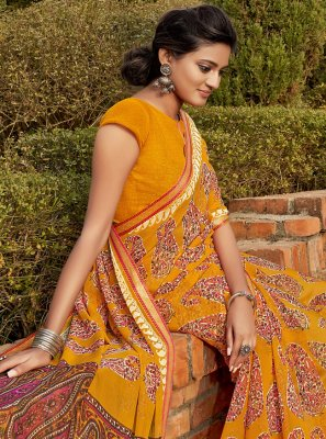 Yellow Faux Chiffon Bollywood Saree