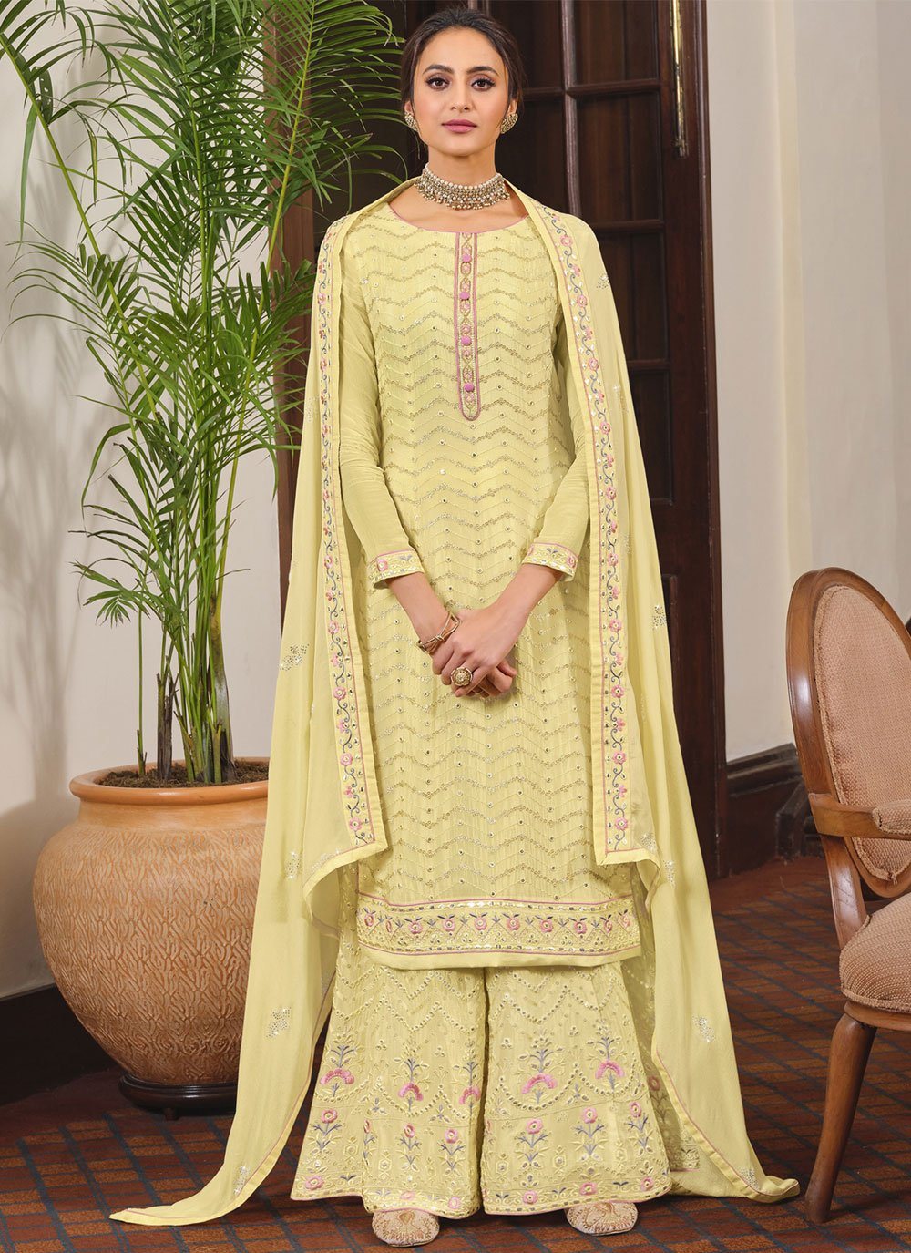 Yellow Faux Chiffon Embroidered Designer Palazzo Suit