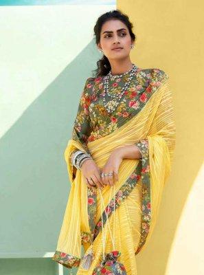 Yellow Faux Chiffon Festival Classic Designer Saree