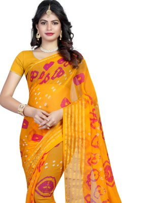 Yellow Faux Chiffon Printed Saree