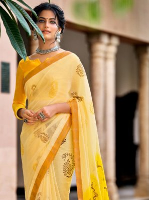 Yellow Faux Chiffon Printed Saree