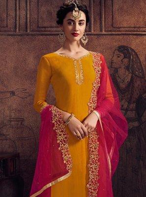 Yellow Faux Georgette Designer Palazzo Salwar Suit