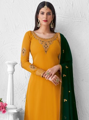 Yellow Faux Georgette Designer Palazzo Suit
