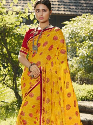 Yellow Festival Brasso Trendy Saree