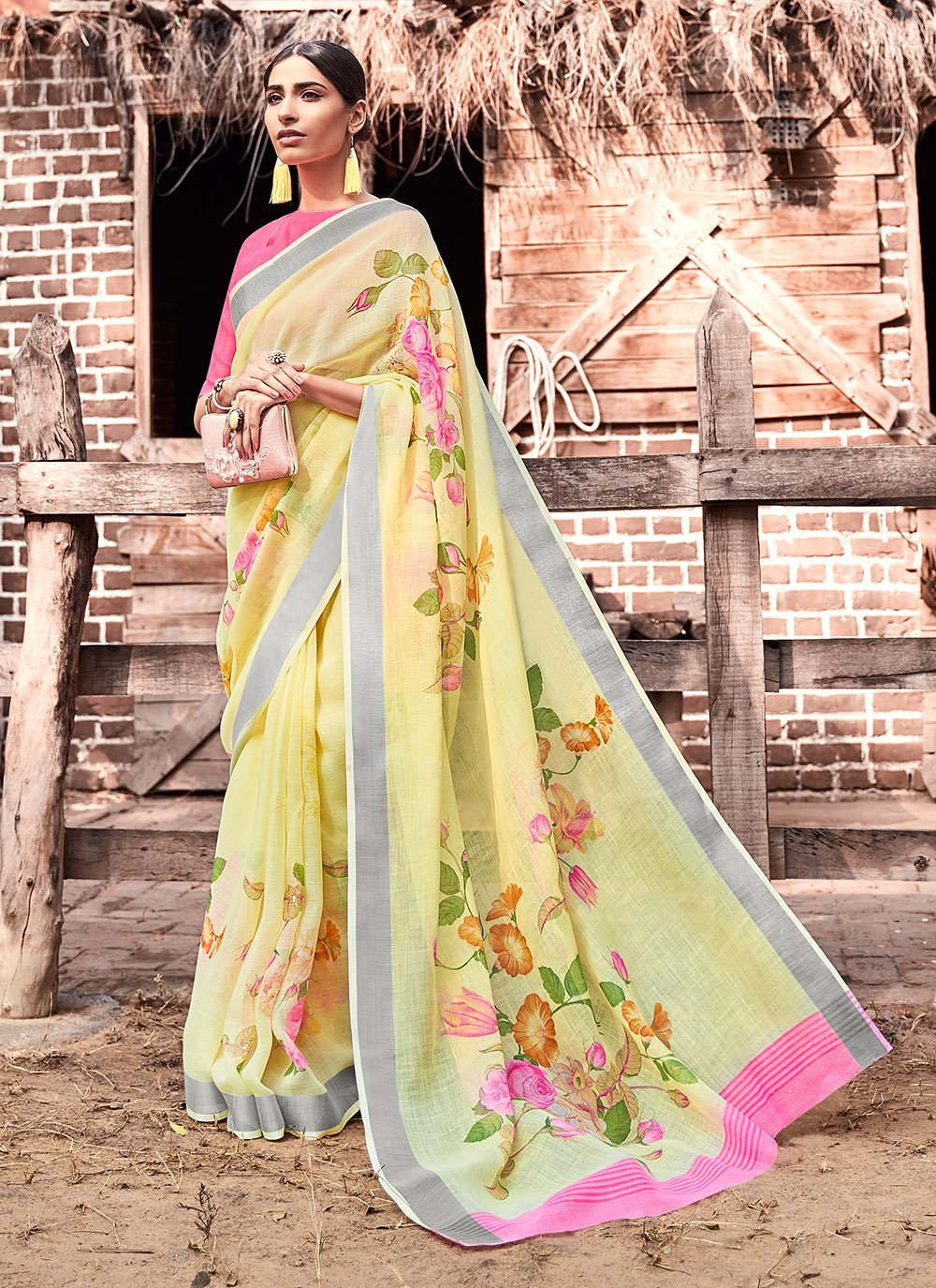 Yellow Festival Cotton Silk Silk Saree