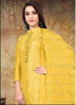 Yellow Festival Designer Straight Salwar Suit