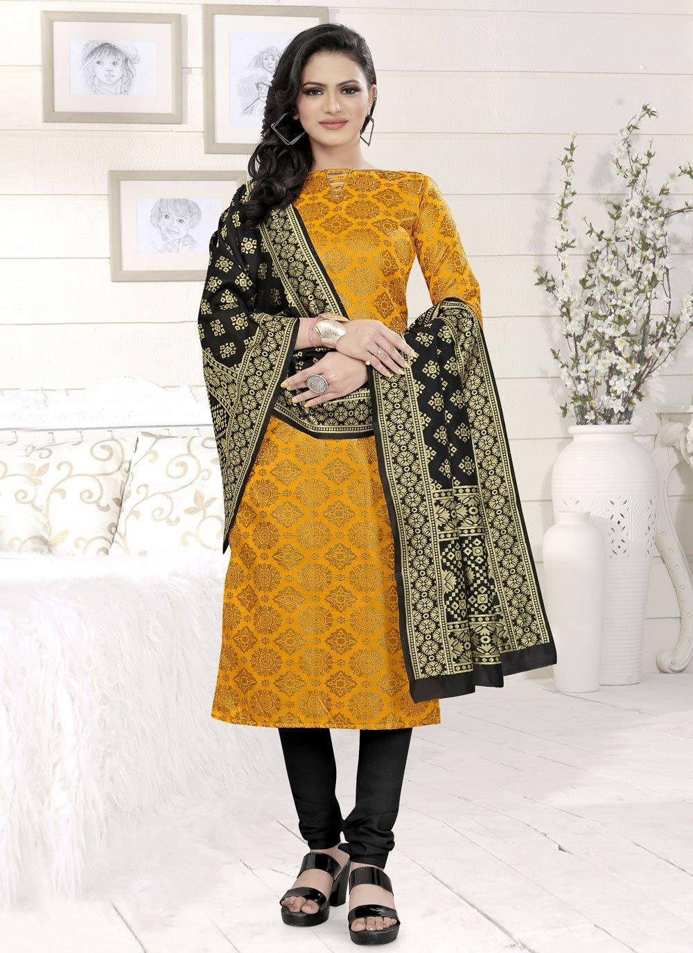 Yellow Festival Fancy Fabric Churidar Suit