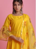 Yellow Festival Fancy Fabric Readymade Suit