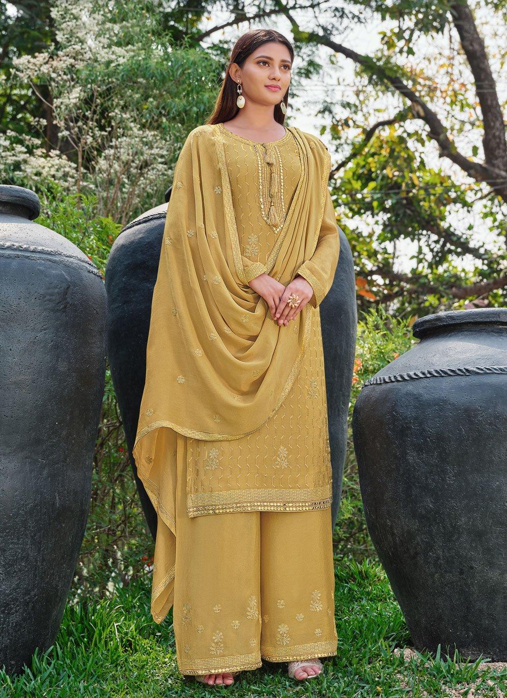 Yellow Festival Faux Chiffon Designer Palazzo Salwar Suit