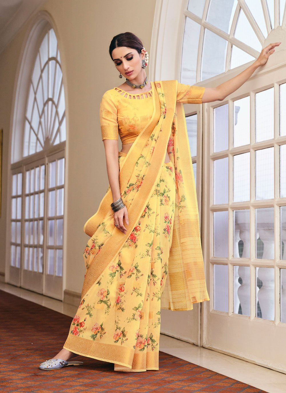 Yellow Festival Linen Printed Saree