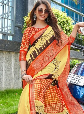 Yellow Festival Printed Saree