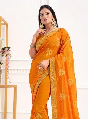 Yellow Festival Vichitra Silk Traditional Designer Saree