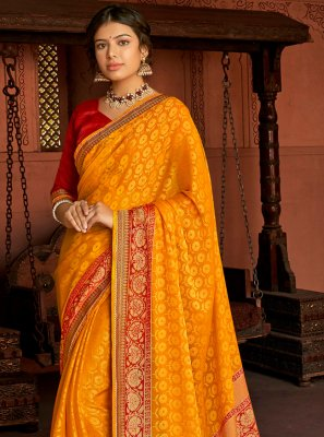 Yellow Floral Print Printed Saree