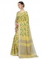 Yellow Floral Print Printed Saree