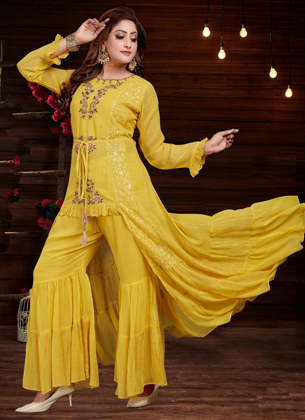Yellow Georgette Party Wear Kurti